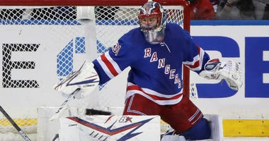 Igor Shesterkin of the Rangers tends net against the Columbus Blue Jackets at Madison Square Garden on January 19, 2020 in New York City.