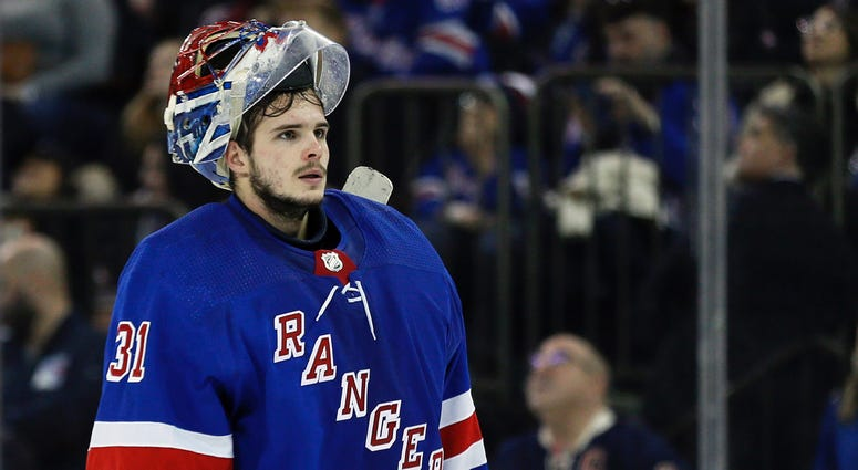 New York Rangers goaltender Igor Shesterkin (31) during a break in action in the third period against the Columbus Blue Jackets at Madison Square Garden