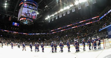 The Islanders celebrate a 5-3 victory over the Philadelphia Flyers at the Barclays Center on February 11, 2020 in the Brooklyn borough of New York City.