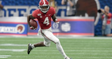 Alabama wide receiver Jerry Jeudy carries the ball up the field against Duke on Aug. 31, 2019, at Mercedes-Benz Stadium in Atlanta.