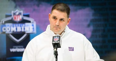 Giants coach Joe Judge speaks to the media during the NFL combine on Feb. 25, 2020, at the Indianapolis Convention Center in Indianapolis.