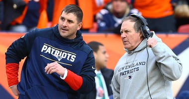 Patriots special teams coach Joe Judge and head coach Bill Belichick talk during a the AFC championship game against the Broncos in the AFC Championship football game on Jan 24, 2016, at Sports Authority Field at Mile High in Denver.