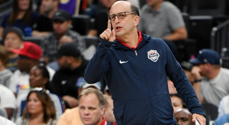 Head coach Jeff Van Gundy of the 2019 USA Men's Select Team yells to players during the 2019 USA Basketball Men's National Team Blue-White exhibition game at T-Mobile Arena on August 9, 2019 in Las Vegas, Nevada.