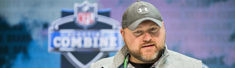 New York Jets general manager Joe Douglas speaks to the media during the 2020 NFL Combine in the Indianapolis Convention Center