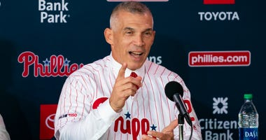 Philadelphia Phillies manager Joe Girardi talks with the media during a press conference at Citizens Bank Park on October 28, 2019.