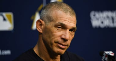 Oct 12, 2017; Houston, TX, USA; New York Yankees manager Joe Girardi (28) speaks at a press conference during workouts at Minute Maid Park