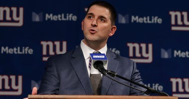Joe Judge talks to the media after he was introduced as the new head coach of the New York Giants during a news conference at MetLife Stadium on January 9, 2020 in East Rutherford, New Jersey