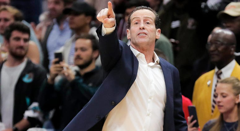 The Nets' Kenny Atkinson coaches against the Pelicans on Dec. 17, 2019, at the Smoothie King Center in New Orleans.