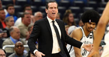 Brooklyn Nets head coach Kenny Atkinson reacts against the Magic on Jan. 6, 2020, at Amway Center in Orlando, Florida.