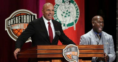 Jason Kidd, left, speaks as presenter Gary Payton, right, laughs during induction ceremonies into the Basketball Hall of Fame on Sept. 7, 2018, in Springfield, Massachusetts.