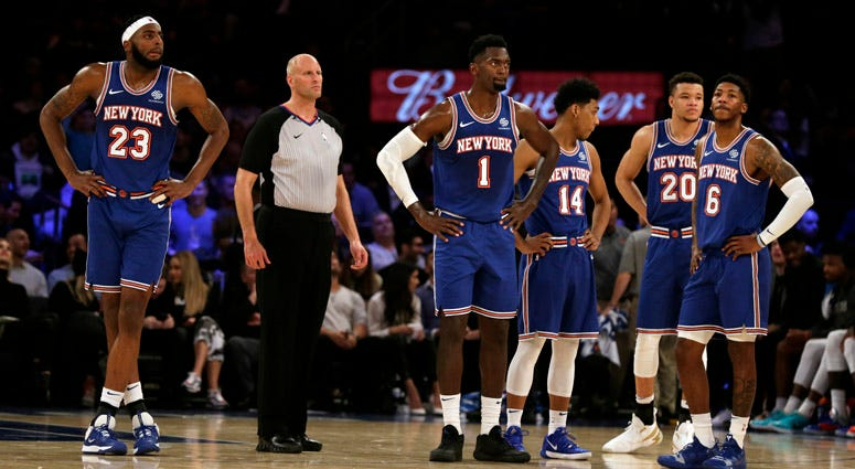 Knicks players during the second half of their game against the Denver Nuggets on Dec. 5, 2019, at Madison Square Garden