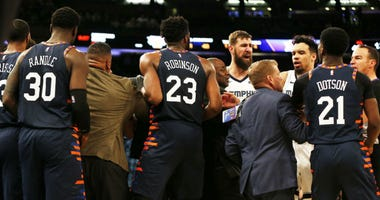 Memphis Grizzlies players and coaches and New York Knicks players and coaches push and shove during an altercation during the second half at Madison Square Garden