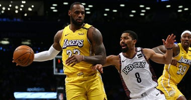 LeBron James of the Los Angeles Lakers in action against the Brooklyn Nets at Barclays Center on January 23, 2020.