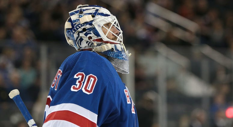 Oct 12, 2019; New York, NY, USA; New York Rangers goaltender Henrik Lundqvist (30) looks up after making a save during the third period against the Edmonton Oilers at Madison Square Garden.