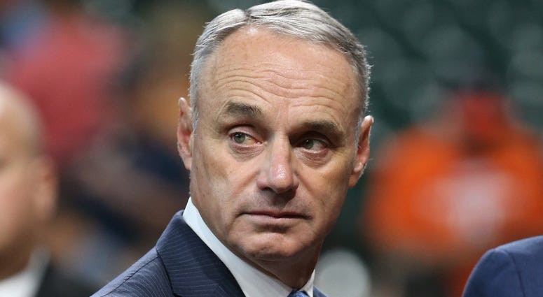 MLB commissioner Rob Manfred looks on before Game 2 of the World Series between the Astros and Nationals on Oct. 23, 2019, at Minute Maid Park in Houston.