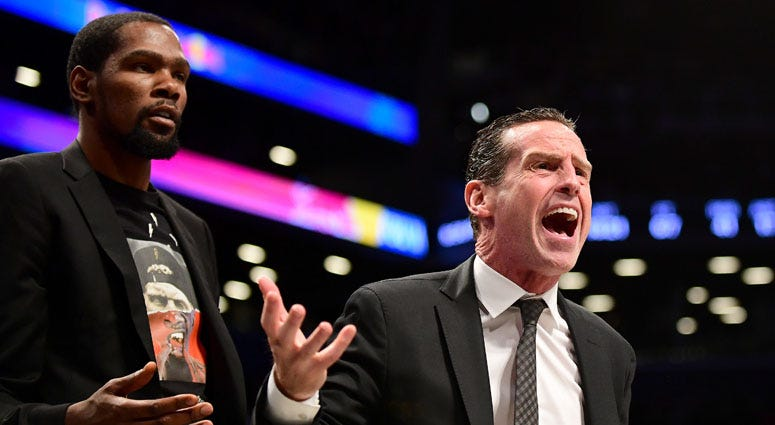 Coach Kenny Atkinson and Kevin Durant of the Brooklyn Nets react during a game against the Indiana Pacers at Barclays Center on Nov. 18, 2019.