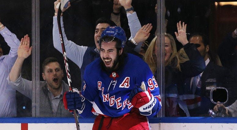 Rangers center Mika Zibanejad celebrates his game-winning goal against the Washington Capitals during overtime on March 5, 2020, at Madison Square Garden.