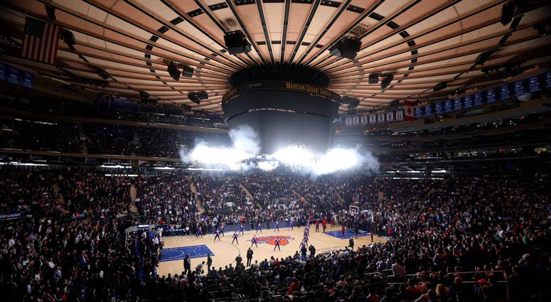 A general view of a Knicks game at Madison Square Garden