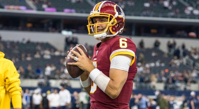 Nov 22, 2018; Arlington, TX, USA; Washington Redskins quarterback Mark Sanchez (6) warms up before the game against the Dallas Cowboys at AT&T Stadium. Mandatory Credit: Jerome Miron-USA TODAY Sports