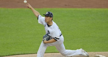 Masahiro Tanaka pitches in the 2019 All-Star Game