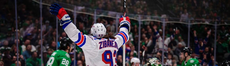 New York Rangers center Mika Zibanejad (93) scores a goal against Dallas Stars goaltender Ben Bishop (30) during the first period at the American Airlines Center