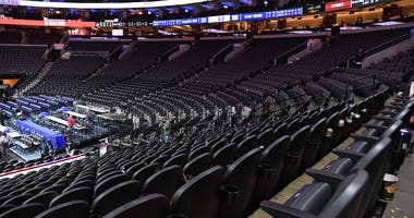 A general view of the arena after game between Philadelphia 76ers and Detroit Pistons at Wells Fargo Center