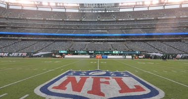 General view of the NFL shield logo at midfield at MetLife Stadium on Nov. 27, 2019.