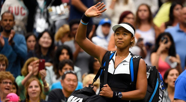 Naomi Osaka of Japan after losing Belinda Bencic of Switzerland in the fourth round of the U.S. Open on Sept. 2, 2019, at USTA Billie Jean King National Tennis Center.