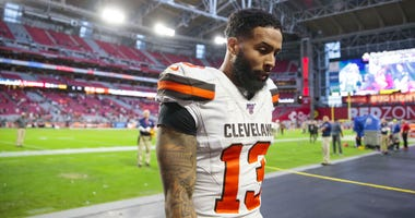 Cleveland Browns wide receiver Odell Beckham Jr. (13) reacts as he leaves the field following the game against the Arizona Cardinals at State Farm Stadium