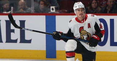 Ottawa Senators center Jean-Gabriel Pageau (44) during the warm-up session before the game against Montreal Canadiens at Bell Centre