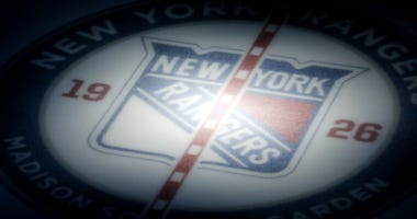 New York Rangers logo on the ice at Madison Square Garden