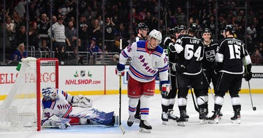 Rangers goaltender Henrik Lundqvist and defenseman Ryan Lindgren react after a goal by Kings right wing Tyler Toffoli on Dec. 10, 2019, at the Staples Center in Los Angeles.