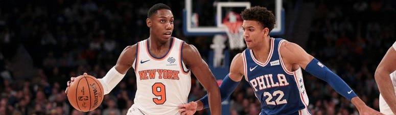 Knicks forward RJ Barrett dribbles as Philadelphia 76ers guard Matisse Thybulle defends on Nov. 29, 2019, at Madison Square Garden.