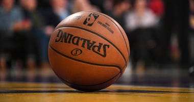 A detailed view of a basketball on the court during the NBA game between the Los Angeles Lakers and the New York Knicks at Staples Center in Los Angeles on Jan. 8, 2020.
