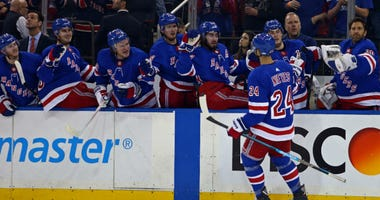 Boo Nieves Celebrates With The Rangers