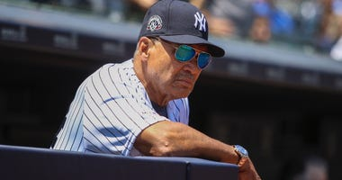 Former New York Yankees outfielder Reggie Jackson (44) at the 2019 Yankees Old Timers' Day at Yankee Stadium.