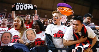 Feb 19, 2020; Piscataway, New Jersey, USA; Rutgers Scarlet Knights fans cheer before the start of game against the Rutgers Scarlet Knights and the Michigan Wolverines at Rutgers Athletic Center (RAC)