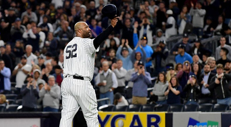CC Sabathia salutes the fans as he is pulled from the game in the third inning against the Los Angeles Angles on Sept. 18, 2019, at Yankee Stadium.