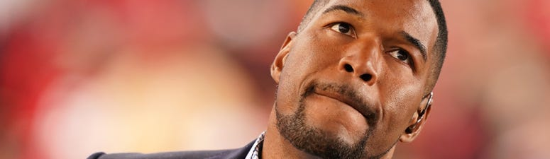 Michael Strahan looks on prior to the NFC championship game between the San Francisco 49ers and Green Bay Packers on Jan. 19, 2020, at Levi's Stadium in Santa Clara, California.