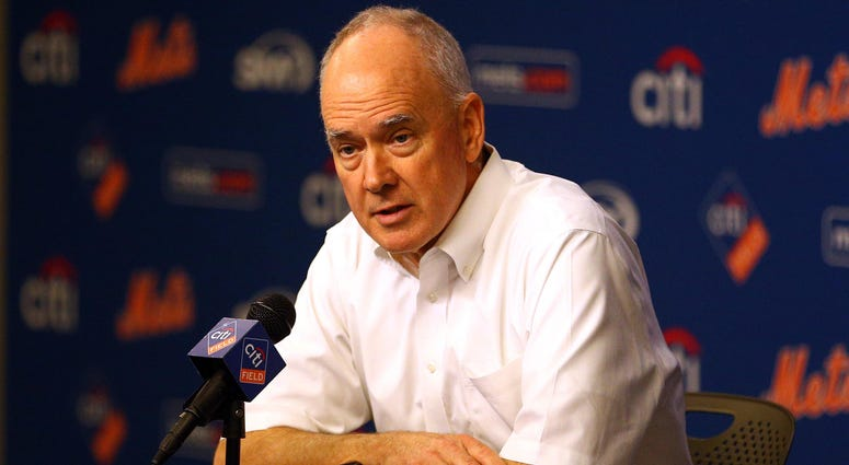 New York Mets general manager Sandy Alderson speaks to reportersat Citi Field on Aug. 1, 2016. Mandatory Credit: Brad Penner-USA TODAY Sports