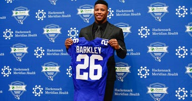 New York Giants first round draft pick Saquon Barkley during a press conference at Quest Diagnostics Training Center on Apr 28, 2018 in East Rutherford, NJ, USA. Mandatory Credit: Catalina Fragoso-USA TODAY Sports