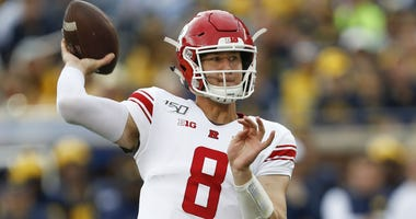Sep 28, 2019; Ann Arbor, MI, USA; Rutgers Scarlet Knights quarterback Artur Sitkowski (8) throws the ball during the first quarter against the Michigan Wolverines at Michigan Stadium