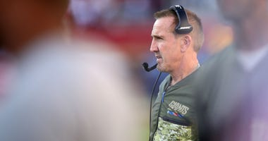 New York Giants defensive coordinator Steve Spagnuolo looks on against the San Francisco 49ers during their NFL game at Levi's Stadium on November 12, 2017 in Santa Clara, California.