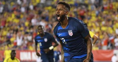 United States midfielder Kellyn Acosta (23) reacts after scoring a goal in the second half against Columbia during an international friendly soccer match on Oct. 11, 2018, at Raymond James Stadium in Tampa, Florida.