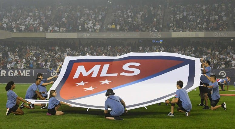 A view of the MLS logo on the field before the 2017 MLS All Star Game on Aug 2, 2017 at Soldier Field.