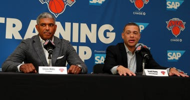 New York Knicks president Steve Mills and general manager Scott Perry speak to the media on media day at MSG Training Center.