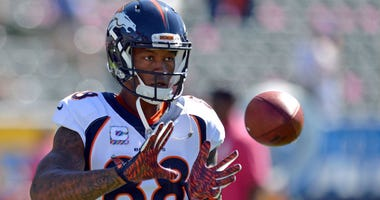 Demaryius Thomas catches a pass before the game against the Los Angeles Chargers at StubHub Center.