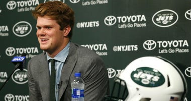 New York Jets first round draft pick quarterback Sam Darnold addresses the media at The Atlantic Health Jets Training Center.