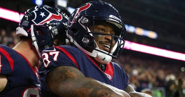 Houston Texans wide receiver Demaryius Thomas (87) celebrates after making a touchdown reception during the fourth quarter against the Tennessee Titans at NRG Stadium.