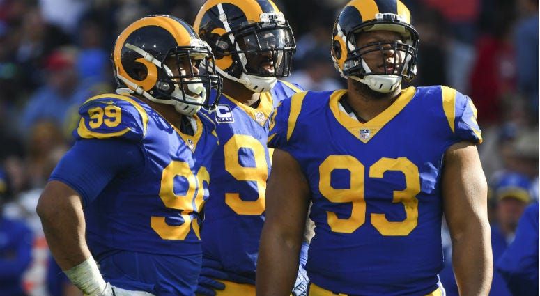 Aaron Donald, Michael Brockers and Ndamukong Suh during the Rams 48-32 win over the San Francisco 49ers at Los Angeles Memorial Coliseum.